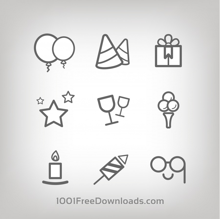 Free Vectors: Vector icons for birhday or wedding design | Objects
