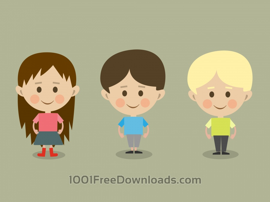 Free Vector cartoon children characters illustration