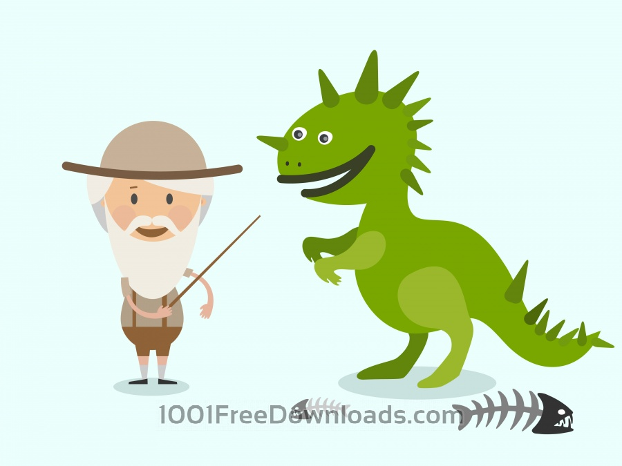 Free Vector cartoon dinosaur and men characters illustration