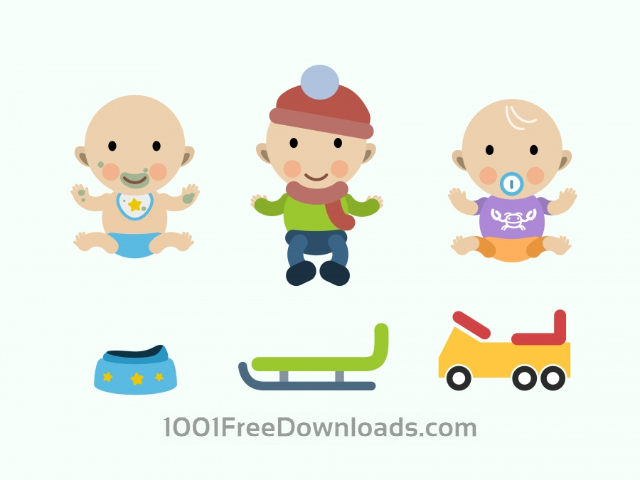 Free Vectors: Vector cartoon baby characters illustration | Objects