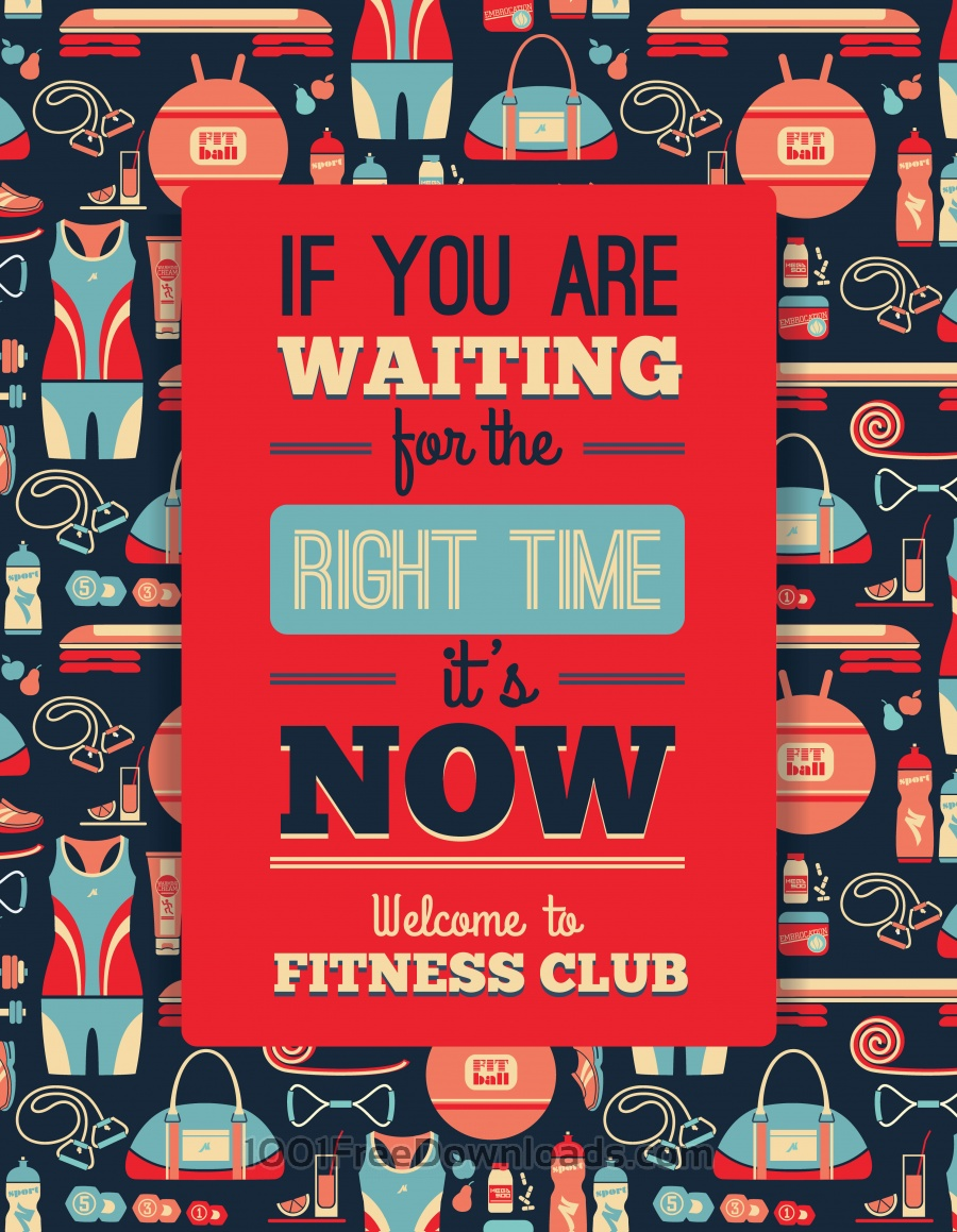 Free Poster with fitness Icons. Vector illustration