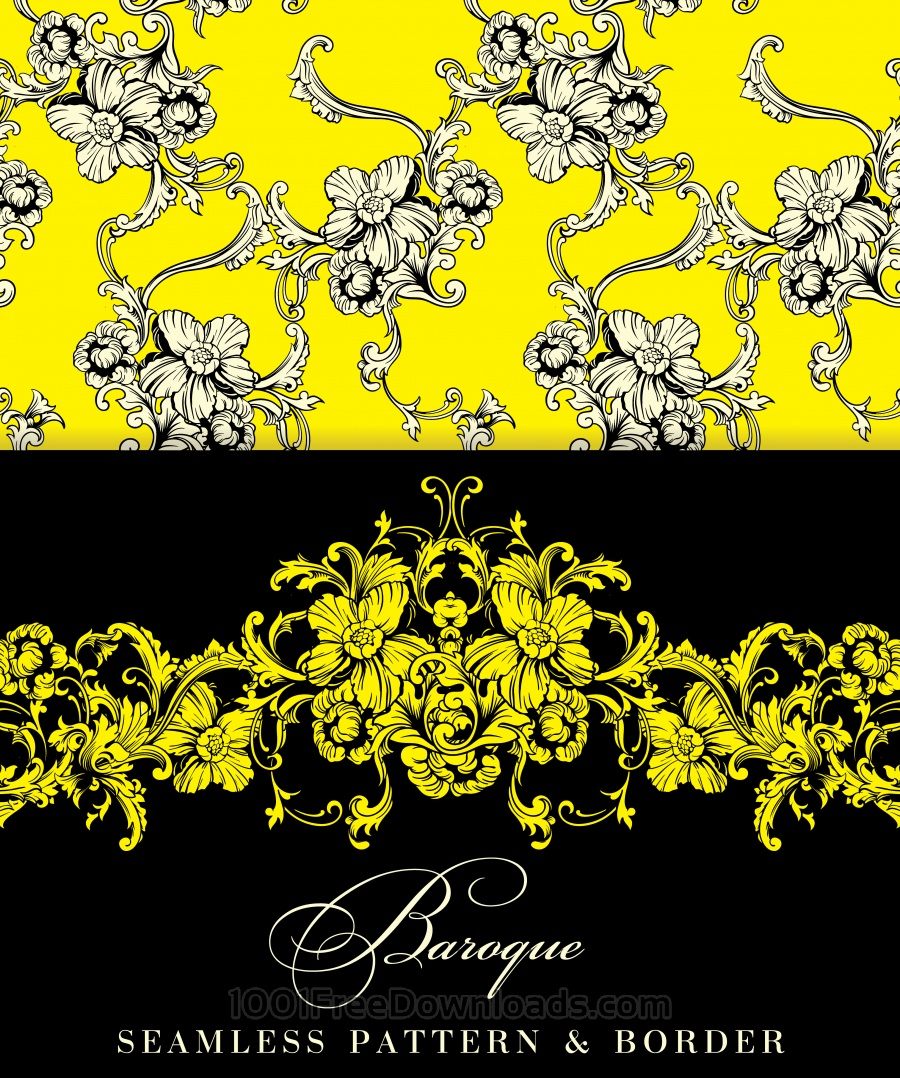 Free Seamless vector background. Baroque pattern and border.