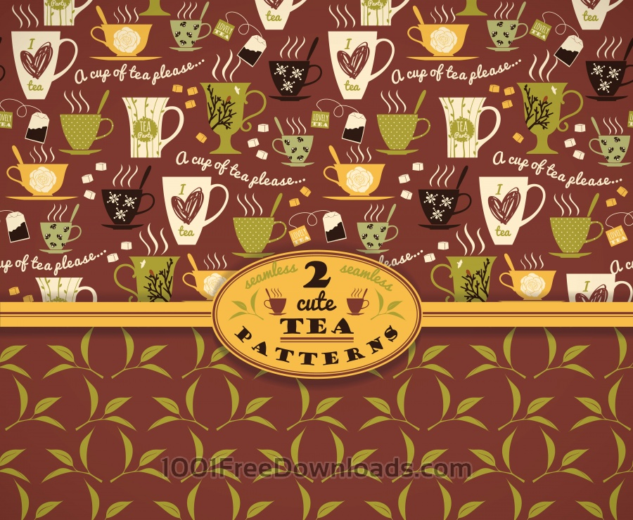 Tea background. Vector seamless pattern.