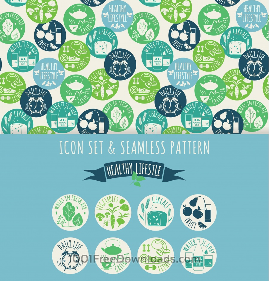 Free Healthy lifestyle. Icon set and seamless pattern