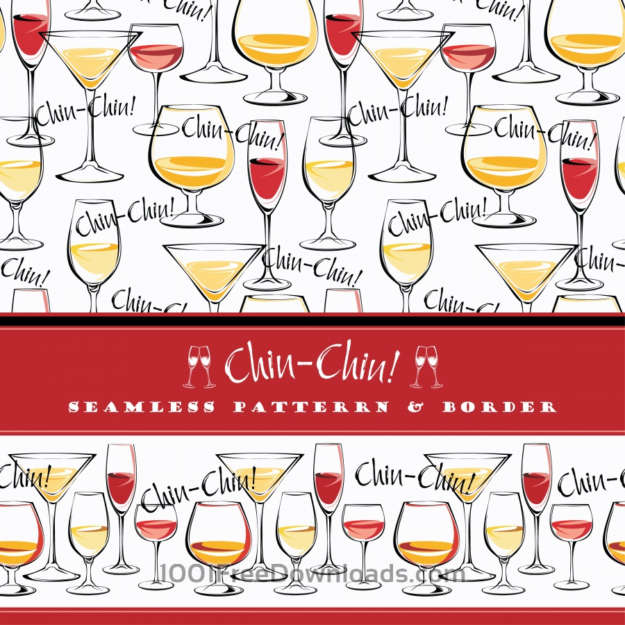 Free Seamless pattern and border wine glasses.