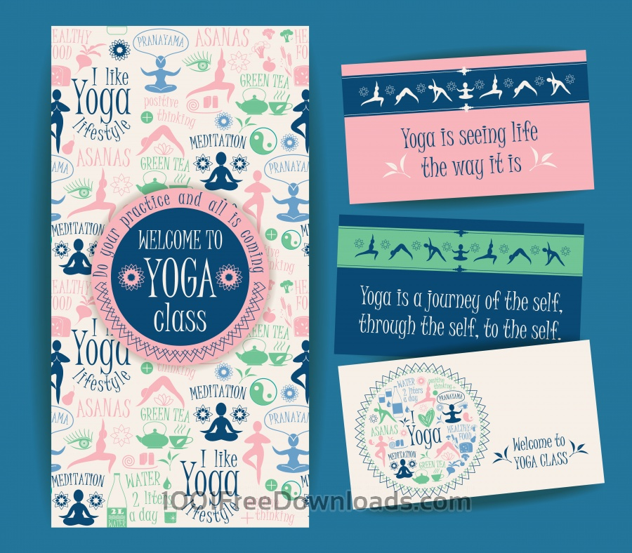 Free Design set for yoga class. Vector pattern with illustration yoga lifestyle.