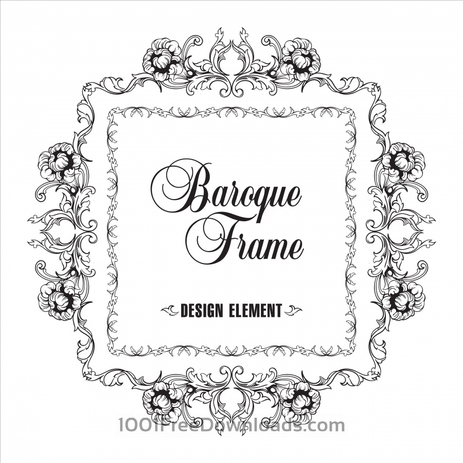 Free Vector ornamental frame. Baroque pattern.