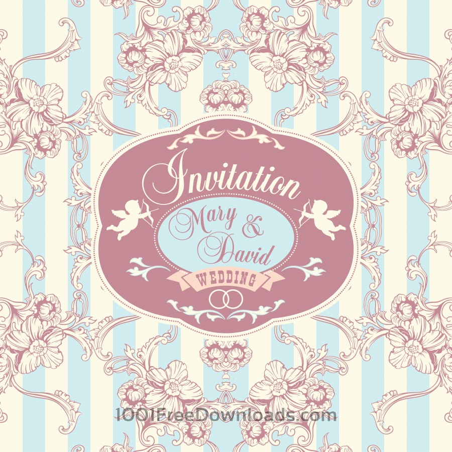 Wedding invitation vector illustration vector free download -  Wedding Invitation Cards With Floral Elements Vector Illustration