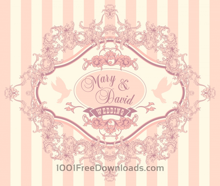 Free Vectors: Wedding invitation cards with floral elements. Vector illustration. | Abstract