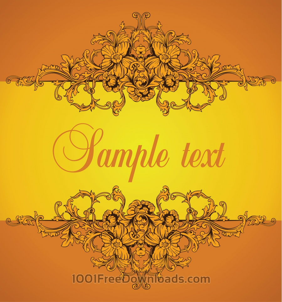 Free Ornamental border. Baroque pattern.