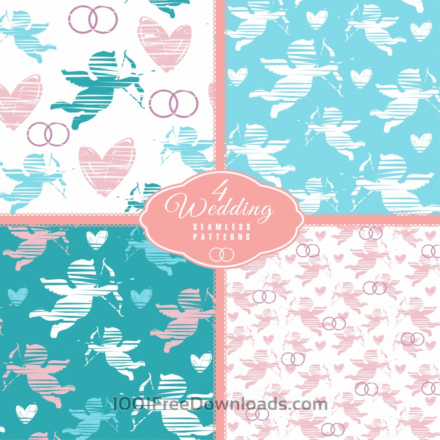Free Wedding seamless pattern with angel. Vector illustration.