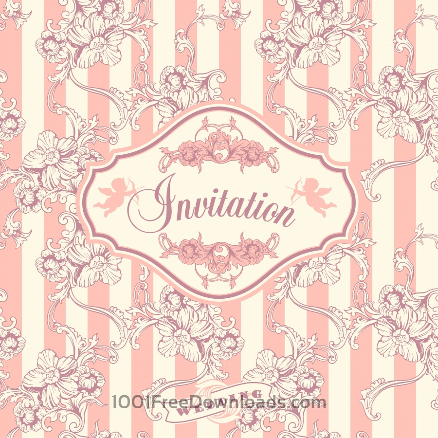 Free Wedding invitation cards with floral elements. Vector illustration.