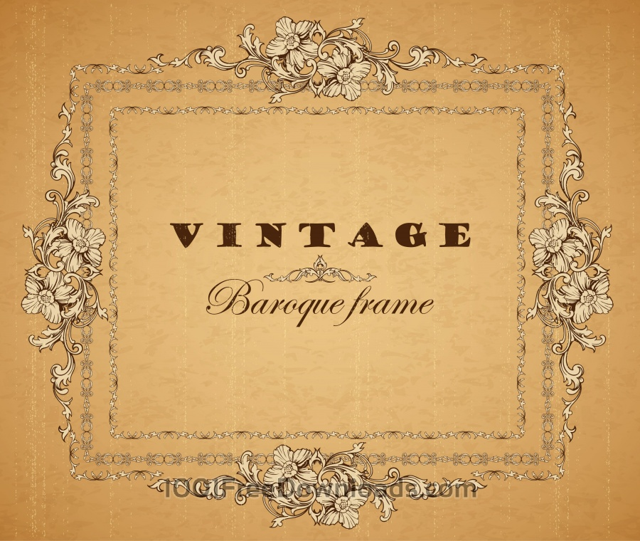Free Vectors: Vintage ornamental frame. Baroque pattern. | Abstract