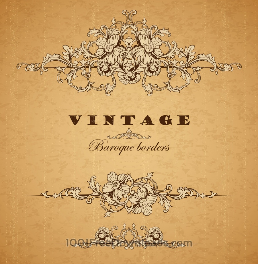 Free Vintage ornamental baroque border