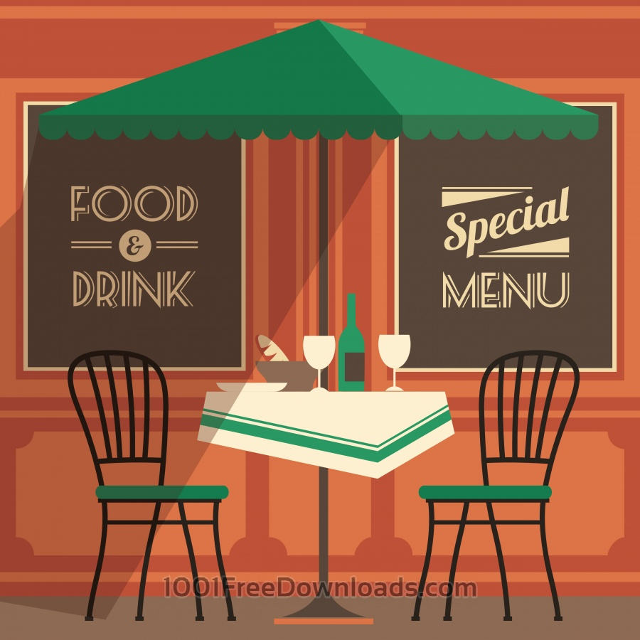 Free Illustration of street cafe