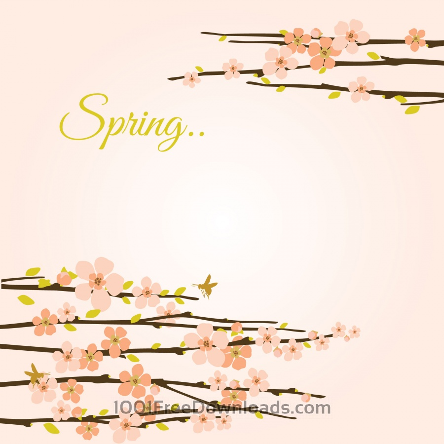 Free Vectors: Vector spring background with flowering branches. | Abstract