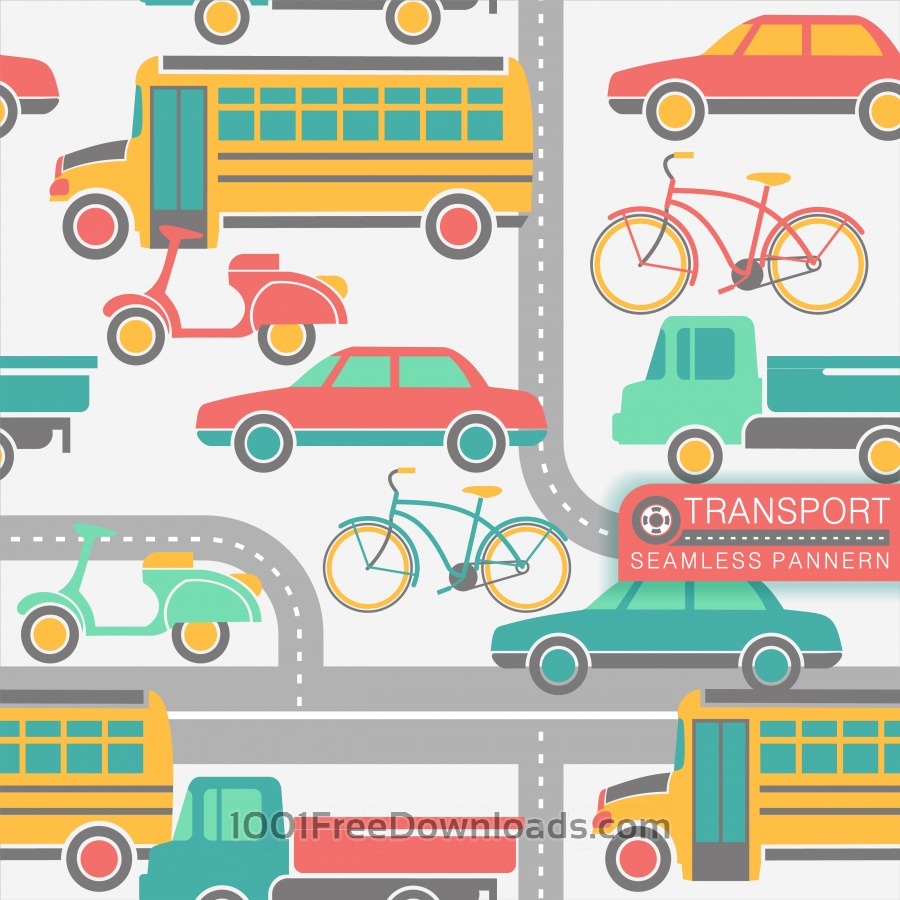 Free Vectors: City transport seamless pattern | Patterns