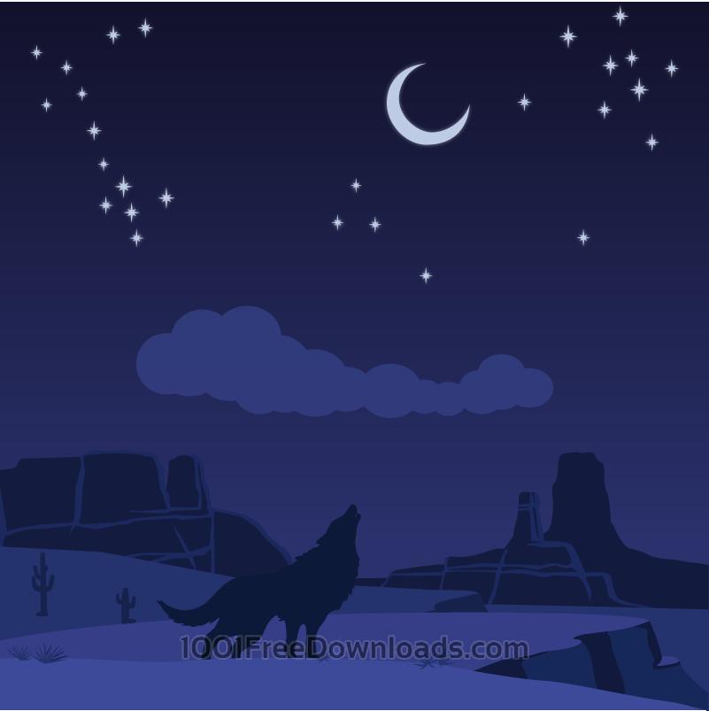 Free Vectors: Desert wolf | Cartoons