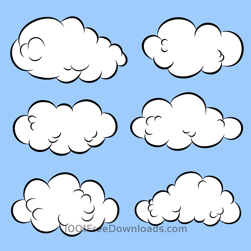 Free Vectors: Comic Book Clouds | Abstract