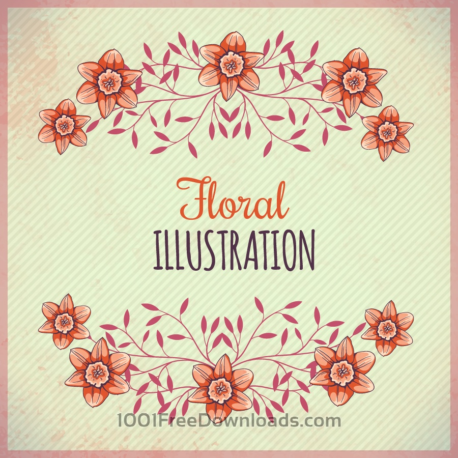 Free Vintage illustration with flowers and typography