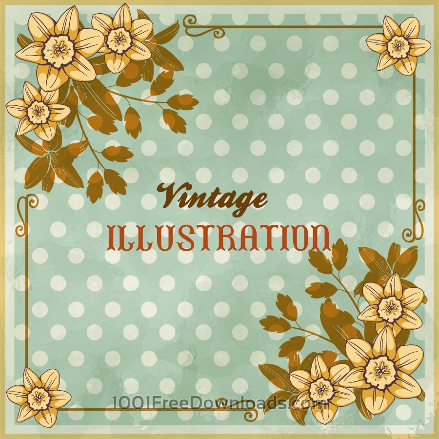 Free Vintage floral illustration with flowers, frame and typography