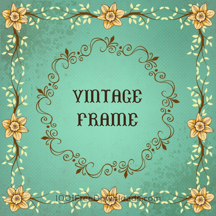 Free Vintage floral illustration with frame