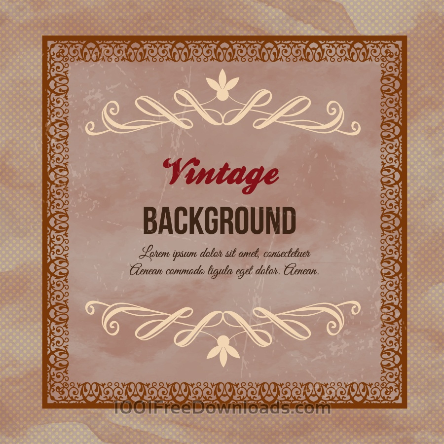 Free Vectors: Vintage floral illustration with frame,ornaments and typography | Backgrounds