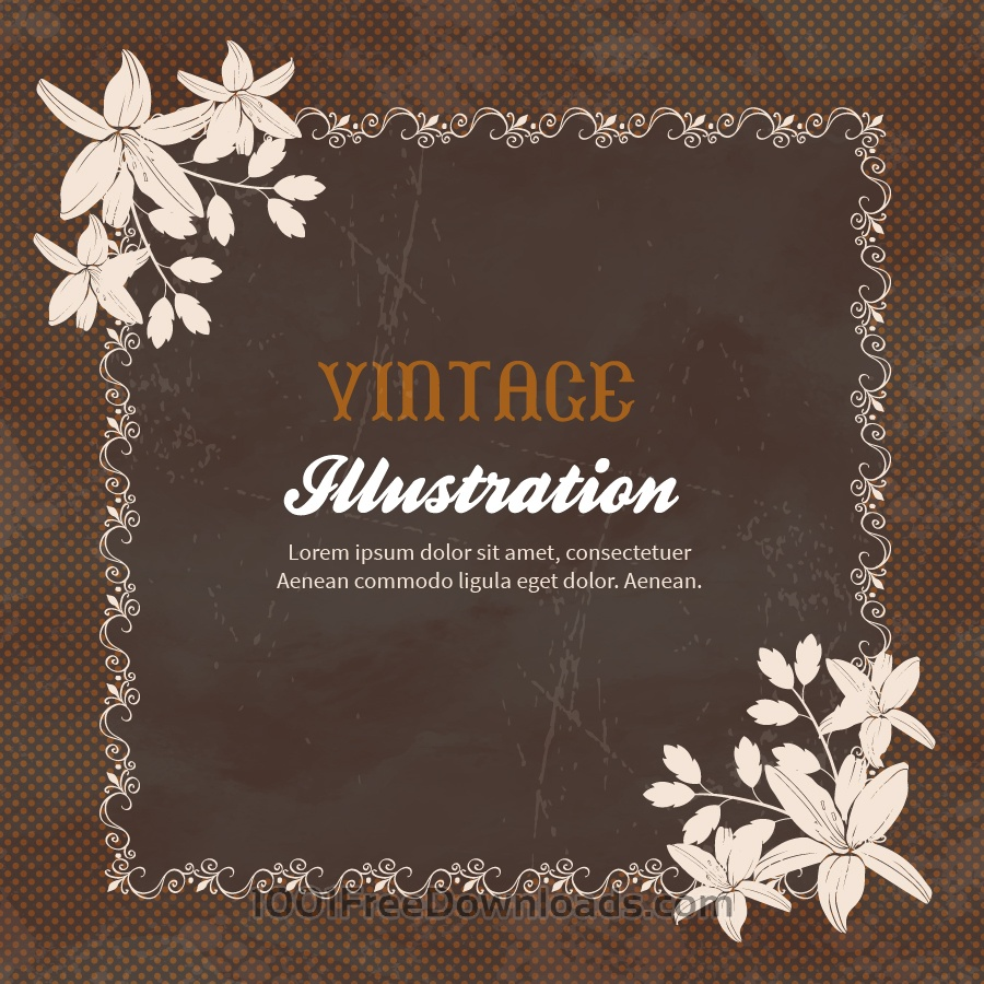 Free Vectors: Vintage flowers with frame  | Backgrounds