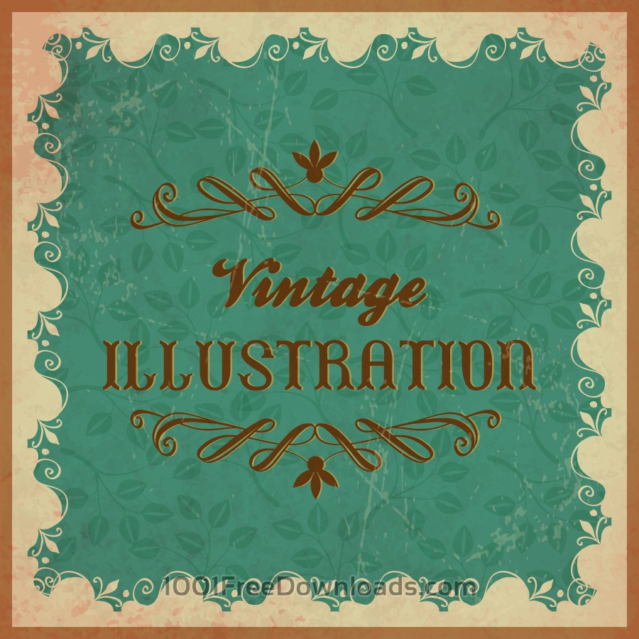 Free Vintage floral illustration with frame,ornament and typography