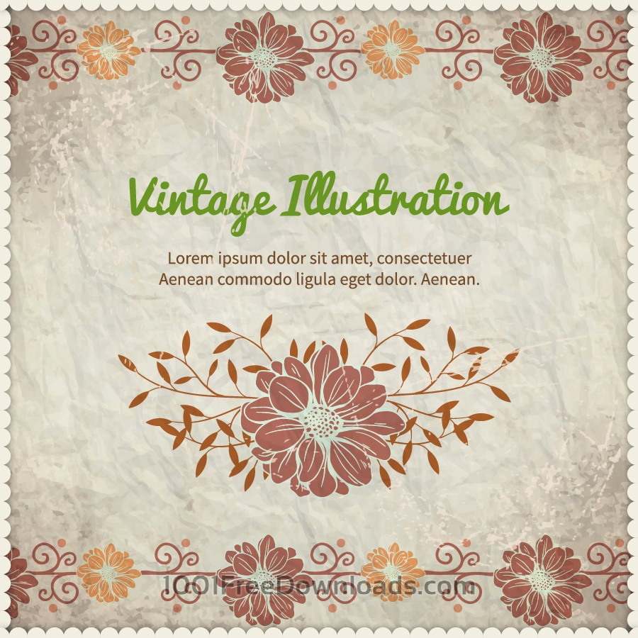 Free Vintage floral illustration with frame,typography and paper texture