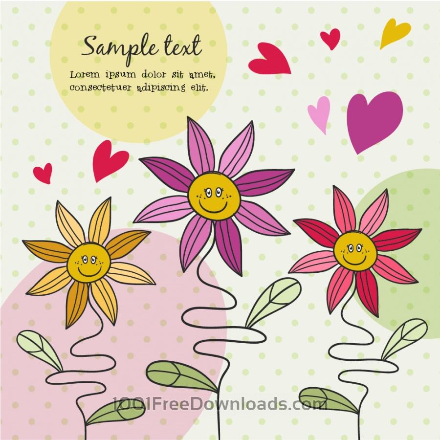 Free Vectors: Doodle illustration with cute flowers | Abstract