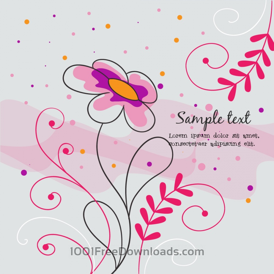 Free Vector illustration with doodle flowers
