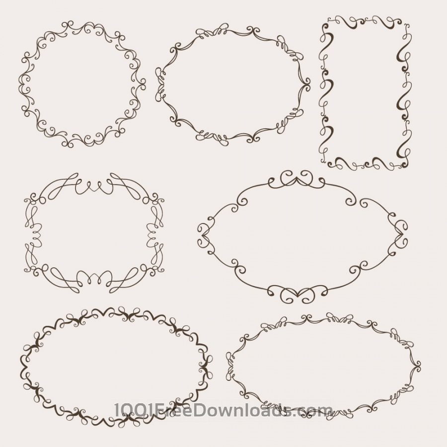 Free Vectors: Vintage vector set of ornamental frames | Abstract