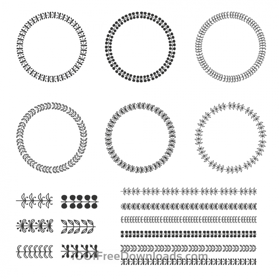 Free Vintage vector set of wreaths