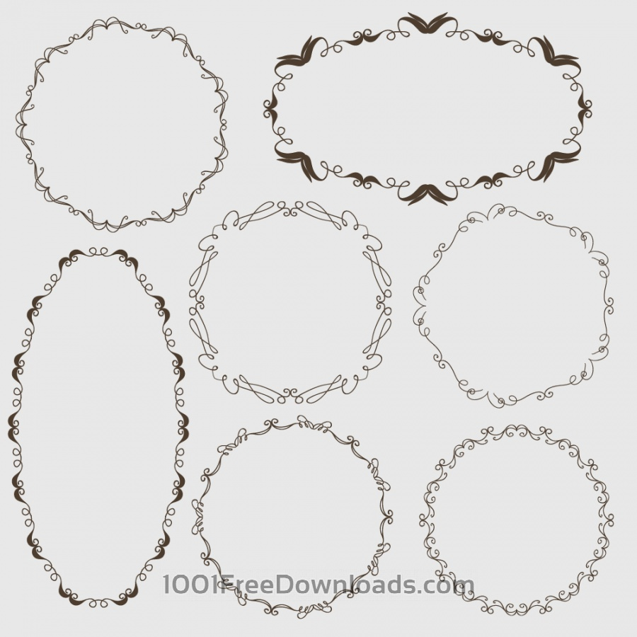 Free Vectors: Vintage vector set of ornamental frames | Abstract
