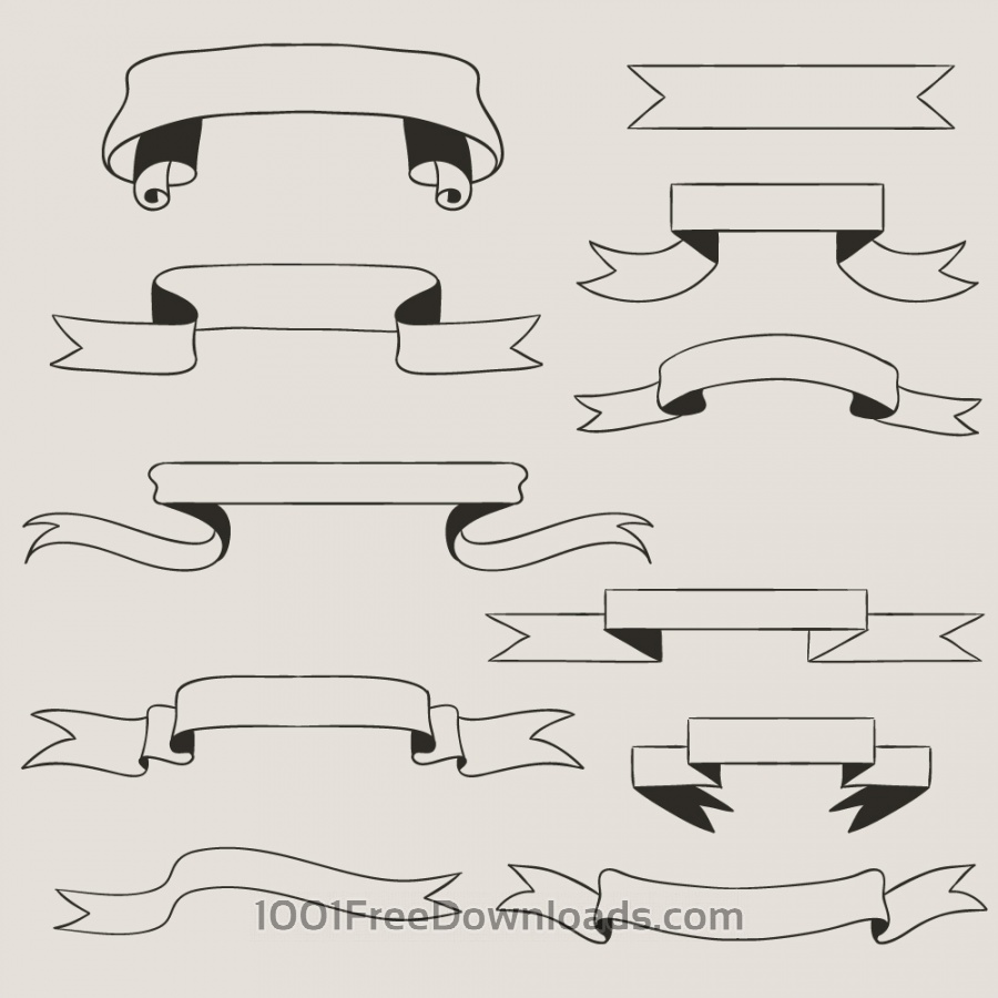 Free Vectors: Vintage vector set of handdrawn ribbons | Vintage