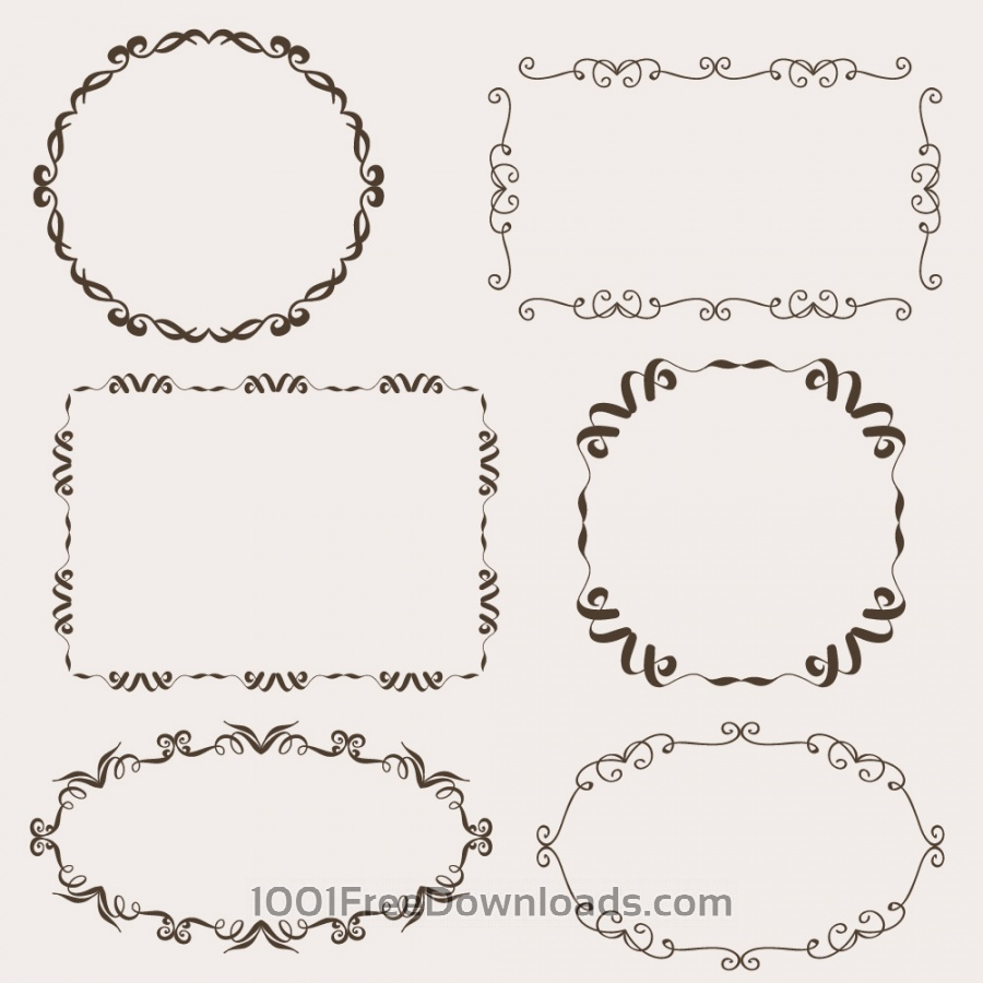Vintage vector set of ornamental frames