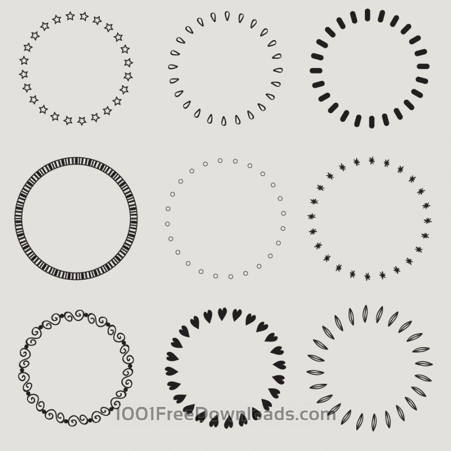Free Vintage vector set of calligraphic circles