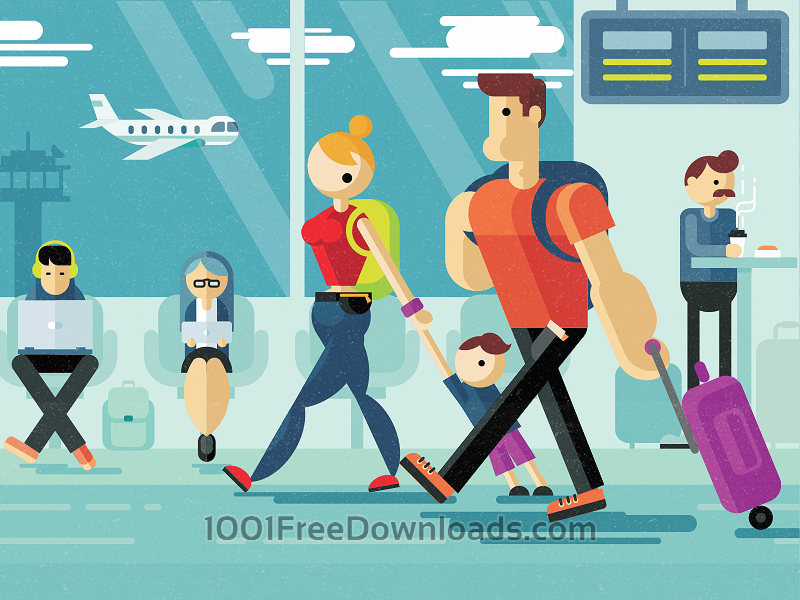 Free Family strolling through airport