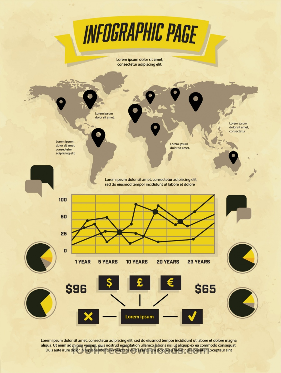 Free Vectors: Set of Vintage Infographic Elements | Backgrounds