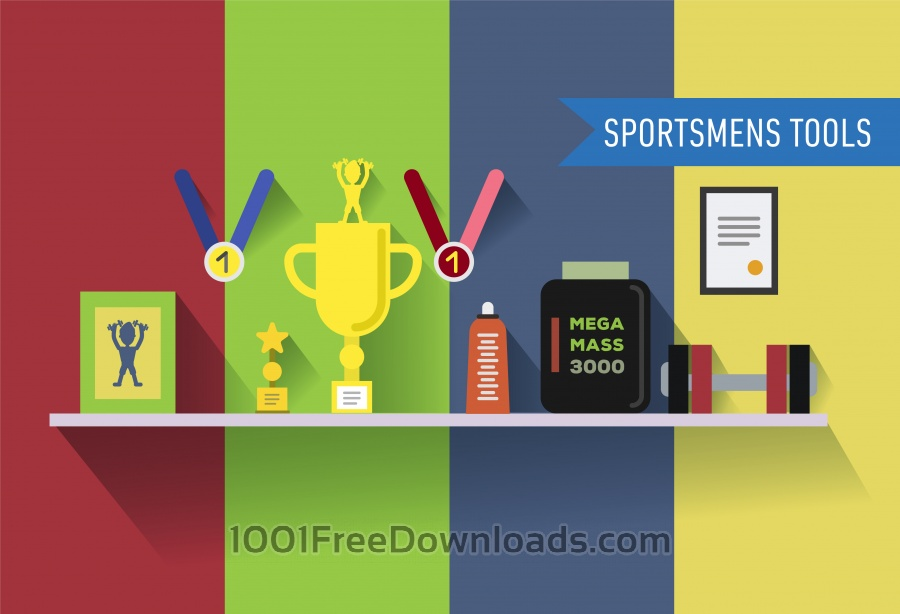 Free Sportsmens table with tools. Vector illustration