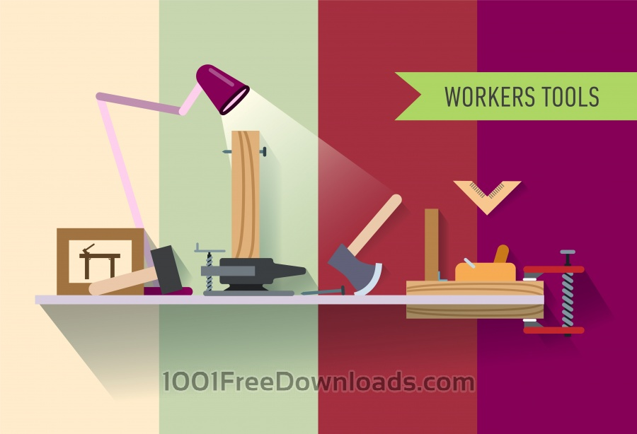 Free Tools objects on the table. Vector illustration for design