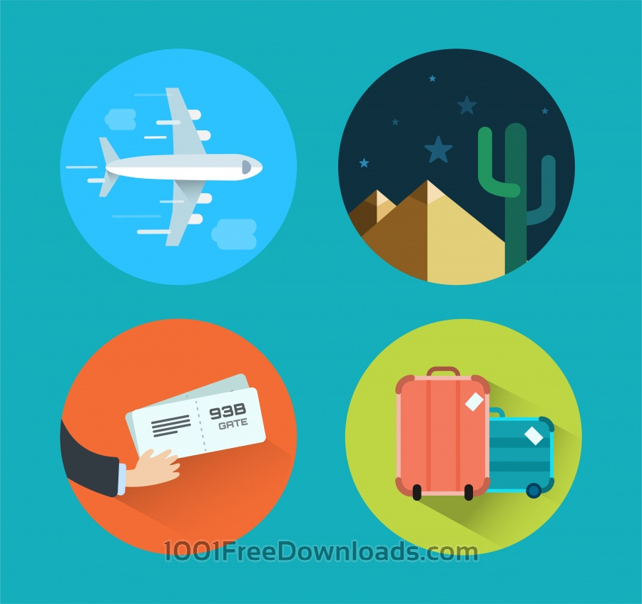 Free Travel icons for design. Vector illustration
