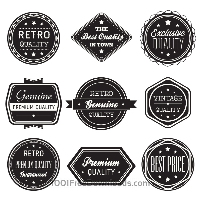 Free Set of vintage retro labels,ribbons