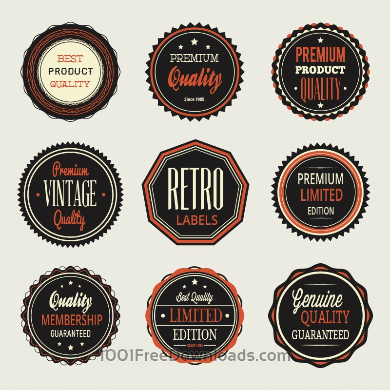 Free Vectors: Vintage labels, badges set | Abstract