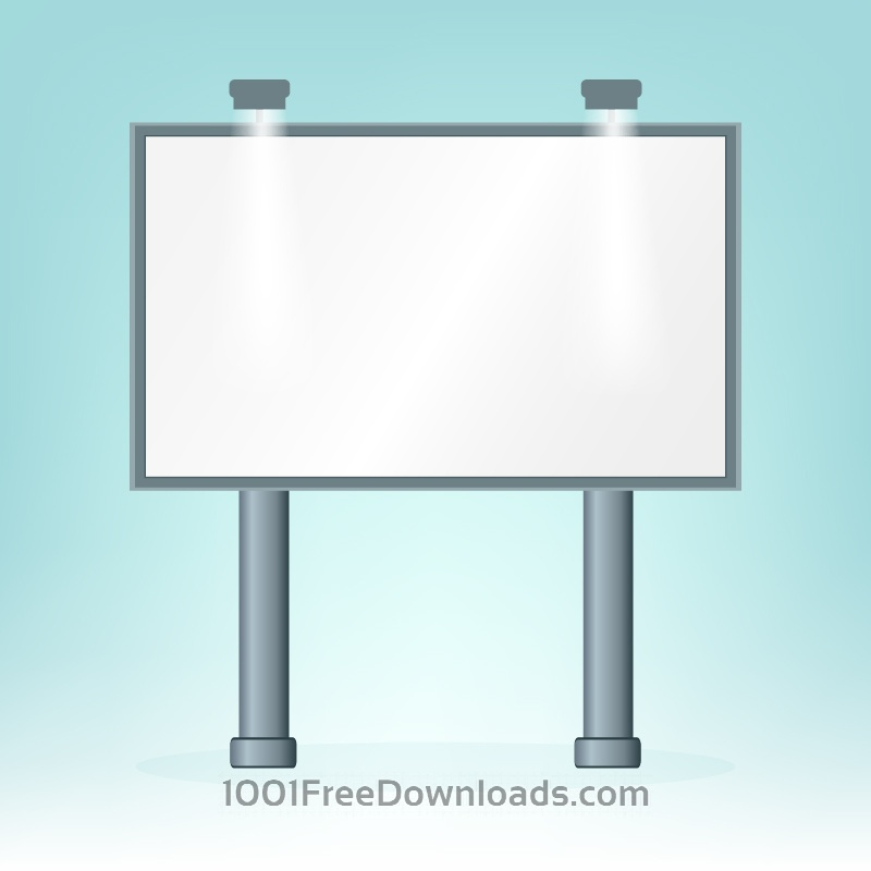 Free Vectors: Blank billboard, on blue bacground, design  | Abstract
