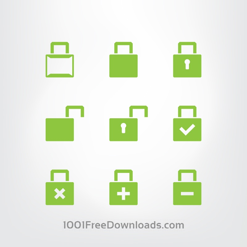 Free Set of green lock icons