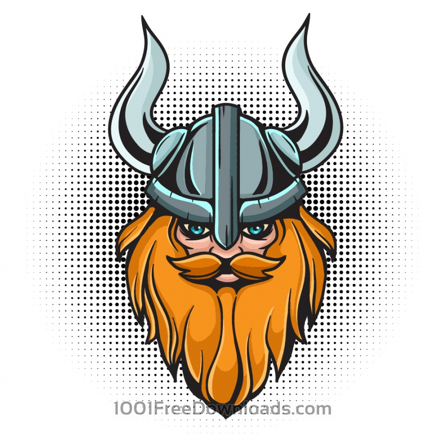 Free Cartoon viking head with helmet