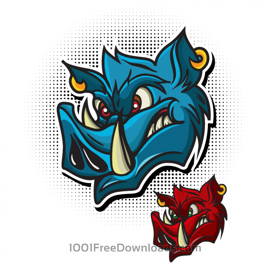 Free Cartoon vector wild boar head