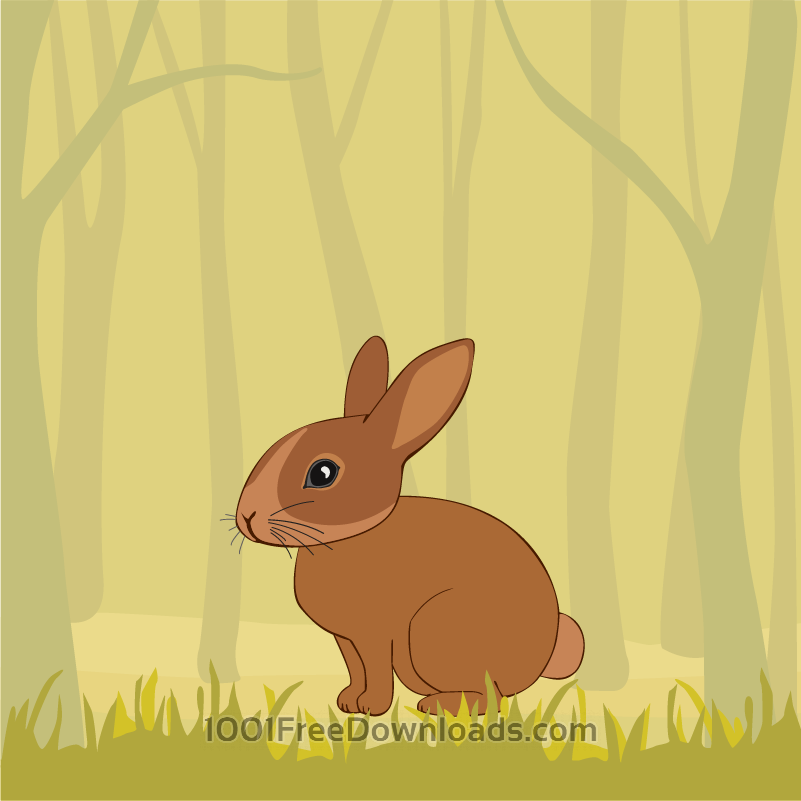 Free Vectors: Cute Rabbit In the Forest | Nature